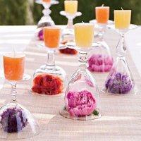 Украшение стола свежими цветами