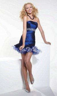 Короткое выпускное платье насыщенного сапфирового оттенка