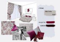 Вариант интерьера спальни с серо-голубыми стенами