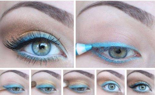 Макияж глаз с голубым контуром: фотоурок