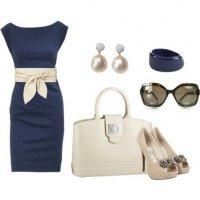 Наряд в сине-бежевой гамме: элегантныо и стильно