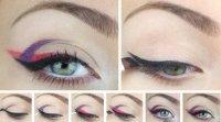 Смелый макияж глаз: разноцветные «стрелки»