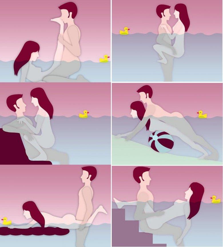 Позы в воде секс