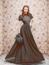 Длинное ретро-платье