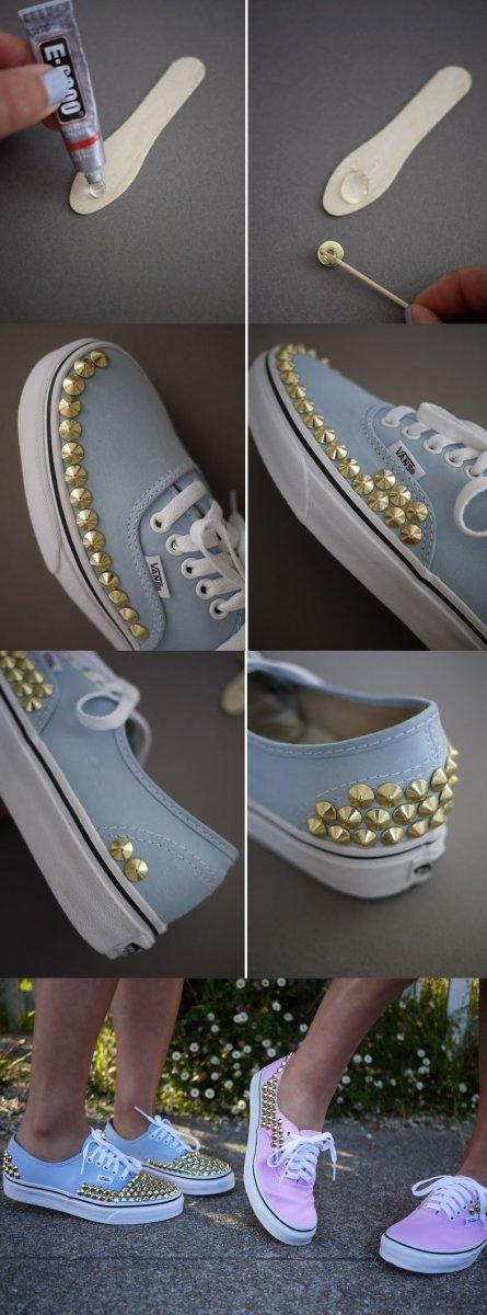 Декор обуви металлическими заклепками