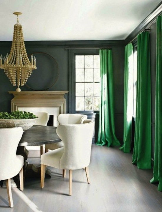 Сочетание серого с зеленым в интерьере