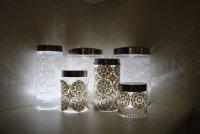 Светильники из банок с декором из кружева
