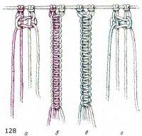 Цветные цепочки из двойных плоских узлов в технике макраме