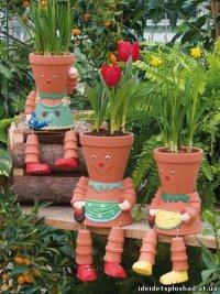 Идея для оформления цветочных горшков