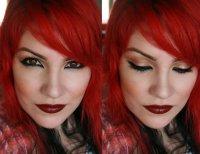 Золостисто-красный макияж для «огненной» девушки