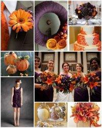 Свадебные комбинации цветов: оранжевый и фиолетовый