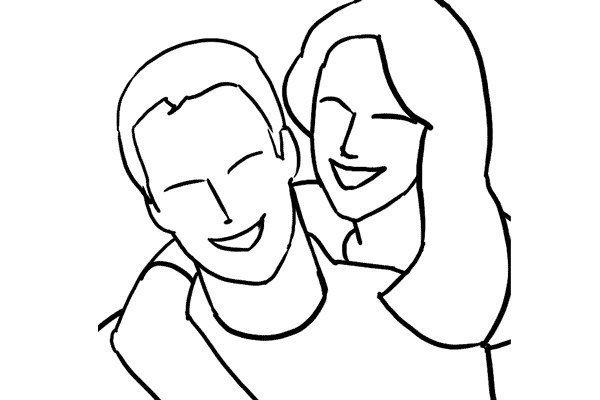 Романтичная поза для фото влюбленной пары