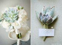Сочетание бутоньерки жениха и букета невесты: суккуленты