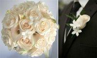 Сочетание бутоньерки жениха и букета невесты: розы