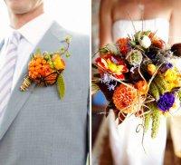 Сочетание бутоньерки жениха и букета невесты: полевые цветы