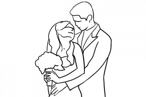 Совместная поза для свадебного фото