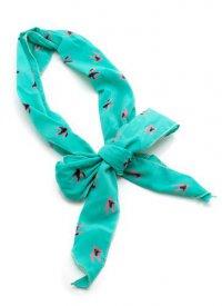 Ярко-голубой шарфик для головы с птичками