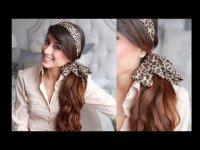Прическа с шарфом: конский хвост