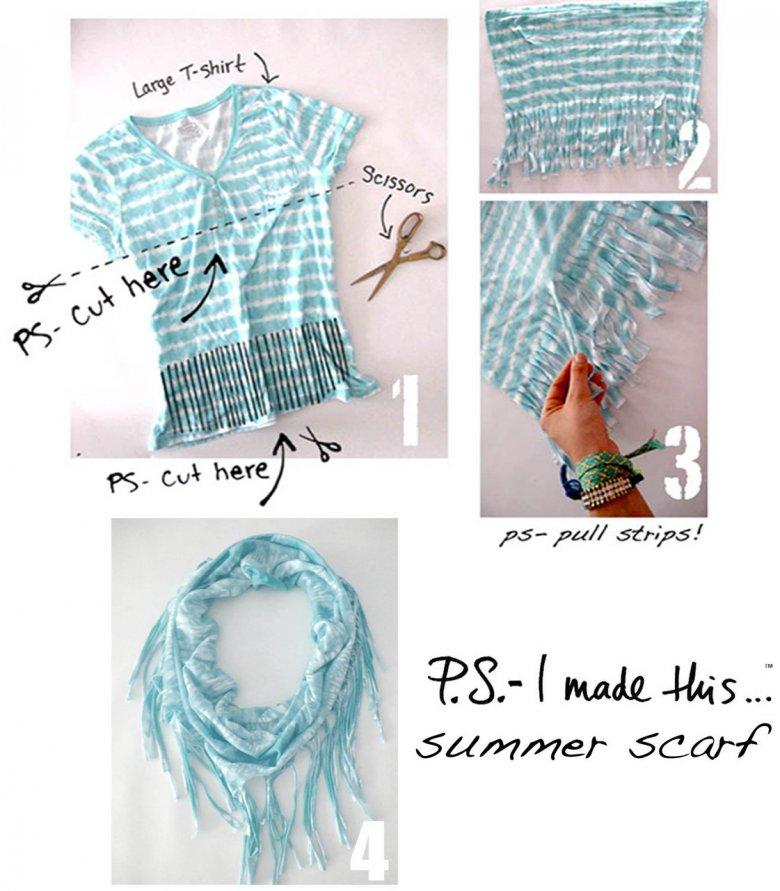 Летний шарф из старой футболки