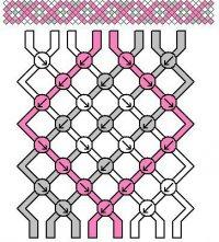 Простая схема плетения фенечки из трех цветов