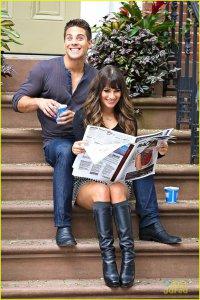 Лиа Мишель и Дин Гейер на съемках Glee в Нью-Йорке