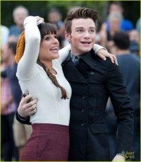 Лиа Мишель и Крис Колфер на съемках Glee в Нью-Йорке