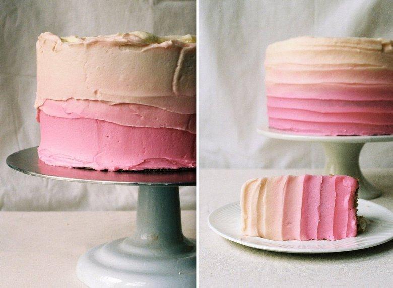 Миндальный торт с кремом омбре