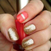 Золотое и красное - великолепная идея для маникюра