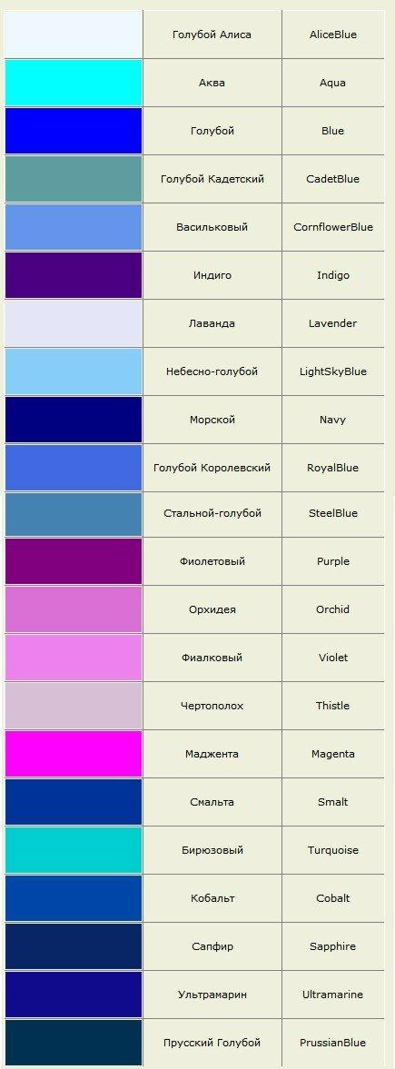 Оттенки голубого и фиолетового