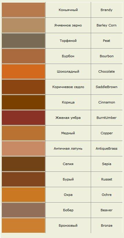 Оттенки коричневого