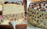 Торт с бисквитными коржами и ореховым безе