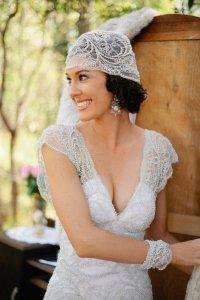 Винтажный кружевной головной убор для невесты