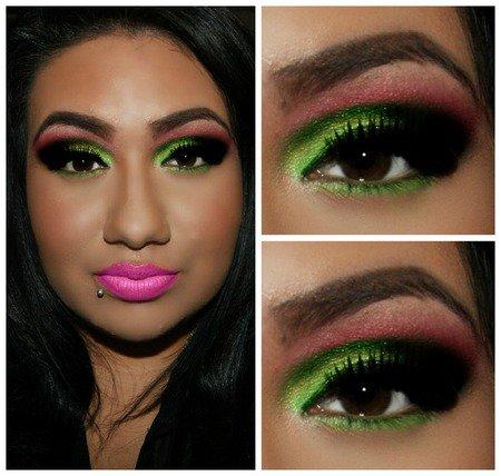 Яркий «арбузный» макияж