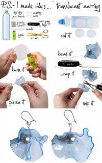 Прозрачные сережки из пластиковых бутылок своими руками