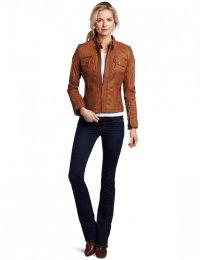 Стильная коричневая кожаная куртка