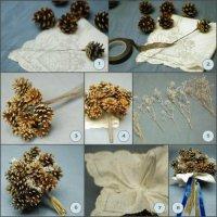 Свадебный букет из шишек своими руками