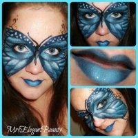 Макияж для Хэллоуина: голубая бабочка