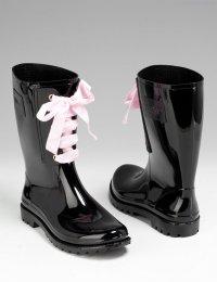 Черные резиновые сапоги со шнуровкой
