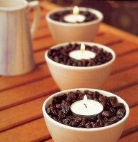 Подсвечники в кофейных зернах