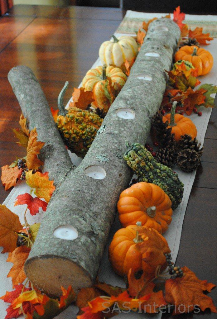 Оформление стола для осенней свадьбы: центральный элемент