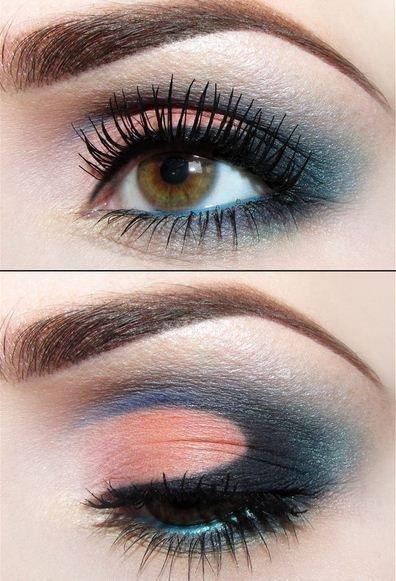 Идея для красивого макияжа с персиковыми тенями