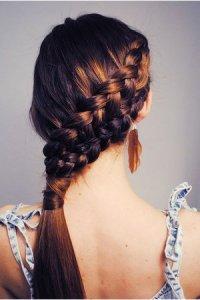 Двойная коса набок
