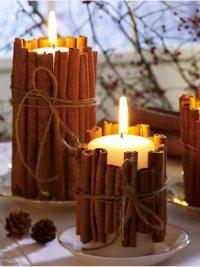 Свечи в подсвечниках из палочек корицы