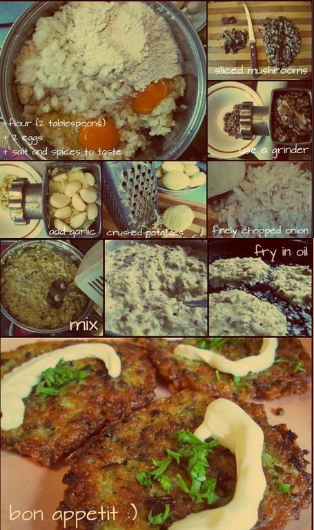 Дируни з грибами/pancakes with mushrooms/драники с грибами