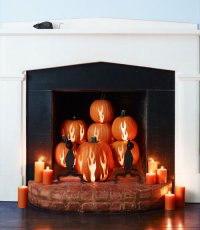 Идеи для дома на Хэллоуин: камин из тыкв