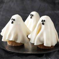 Украшение капкейков на Хэллоуин: привидения