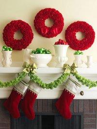 Идея для украшения каминной полки на Новый год и Рождество