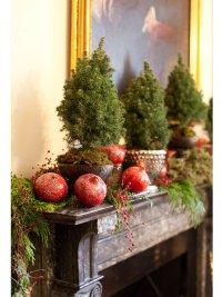 Идеи новогоднего декора: гранаты и деревья в горшочках