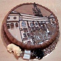 Очень красивая идея для украшения торта: картина из мастики/марципана