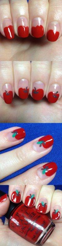 Красивый маникюр в виде яблочек